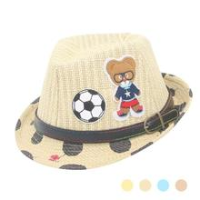 Cartoon baby hat summer Straw Hat Kids Girls cap Sun hat for boys Breathable infant toddler Bucket Hats photo props B3-26B