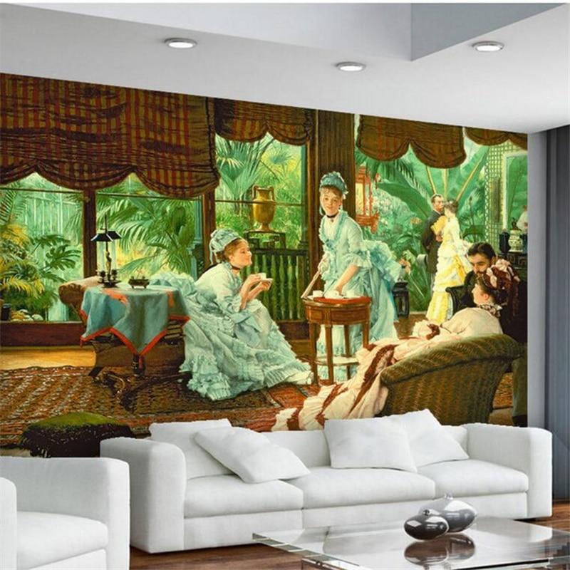 Custom photo mural wallpaper 3d stereo blinds outside banana leaves indoor europe lady figures oil painting living room wallpape<br><br>Aliexpress