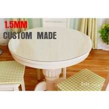SM 1.5mm diameter 60cm round circle custom made crystal plate plastic soft glass PVC tablecloths table cover free shipping