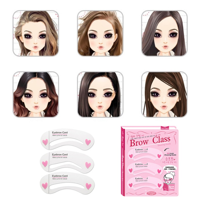 3Pcs Set Thrush Card Threading A Word Eyebrow Makeup Tools Artifact Aid Eyebrows Mold Cosmetic PL8