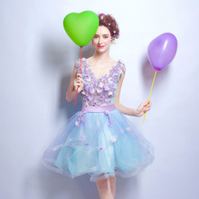 2016 Hot Sale Short Mini Light Blue Lavender Prom Dresses V-Neck Sleeveless Cheap In Stock Real Image Lace Up Prom Party Gowns