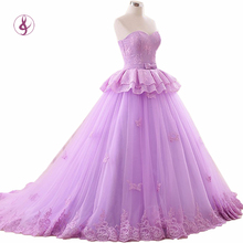 RSM66178 Shop nline china sweetheart neckline sweep train ball gown lace light purple long evening dresses for sale