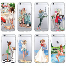 Fashion Classy Paris Girl Summer Legs Travel Relax Beach Macaroon Soft Clear Phone Case For iPhone 7 7Plus 6 6S 6Plus 5 5S SE