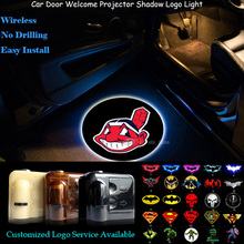 2x Cleveland Indians Logo Wireless Senor Car Door Welcome Ghost Shadow Spotlight Laser Projector Puddle LED Light(China)