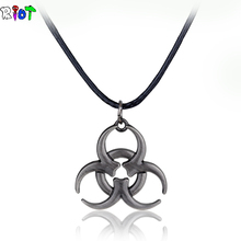 Medical Waste Logo Biohazard Resident Evil necklace Movie Jewelry in ancient logo Pendant leather chain