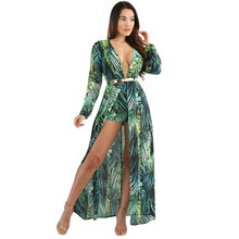 YJSFG HOUSE Casual Women Print Long Maxi Boho Beach Dress Ladies 2017 Summer Print Evening Party Dress Deep V-neck Chiffon Robe
