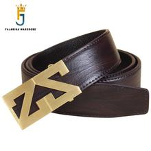 FAJARINA Brand Name Designer Solid Letter Brass Buckle Belts Striped Line Cow Skin Leather Smooth Belt for Men 3.3cm LUFJ661(China)
