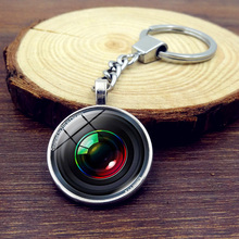 2017 New Camera Lens Pendant Keychain Glass Round Dome Metal Keychain Fashion Jewelry Silver Key Ring Chain Women Men Gifts