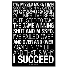 NICOLESHENTING WHY I SUCCEED - Michael Jordan Motivational Quotes Art Silk Fabric Poster Print 12x18 20x30 24x36 inches 004(China)