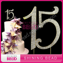 number 15 crystal rhinestone cake topper for happy birthday cake,free shipping,hot sale number 15 rhinestone cake topper