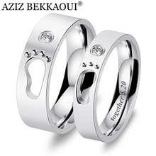 AZIZ BEKKAOUI DIY Engrave Name Couple Rings Baby Feet Stainless Steel Rings Hollow Footprints Wedding Jewelry Promise Bands