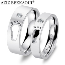 AZIZ BEKKAOUI DIY Engrave Name Couple Rings Baby Feet Stainless Steel Rings Hollow Footprints Wedding Jewelry Promise Bands(China)