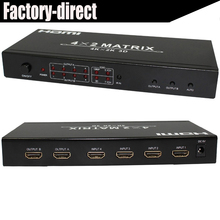HDMI Matrix 4X2 Switcher splitter box supports  up to 4KX2K resolutions with remote control hdmi 1.4V