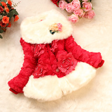 Luxury Girls faux fur coat fox fur collar fish-scale pattern jacket baby warm clothing Children outerwear Autumn Winter fleece(China)