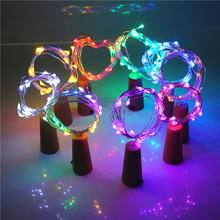 ASMTLED 1Pcs Silver Wire String Light 2m 20Leds Wine Bottle Cork Battery Operated Starry Rope Fairy Lights For Party Holiday