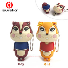 New cute squirrel usb flash drive U disk memory stick Creative gift 4gb 8gb 16gb usb pendrive 32gb 64gb drive pen usb memory(China)