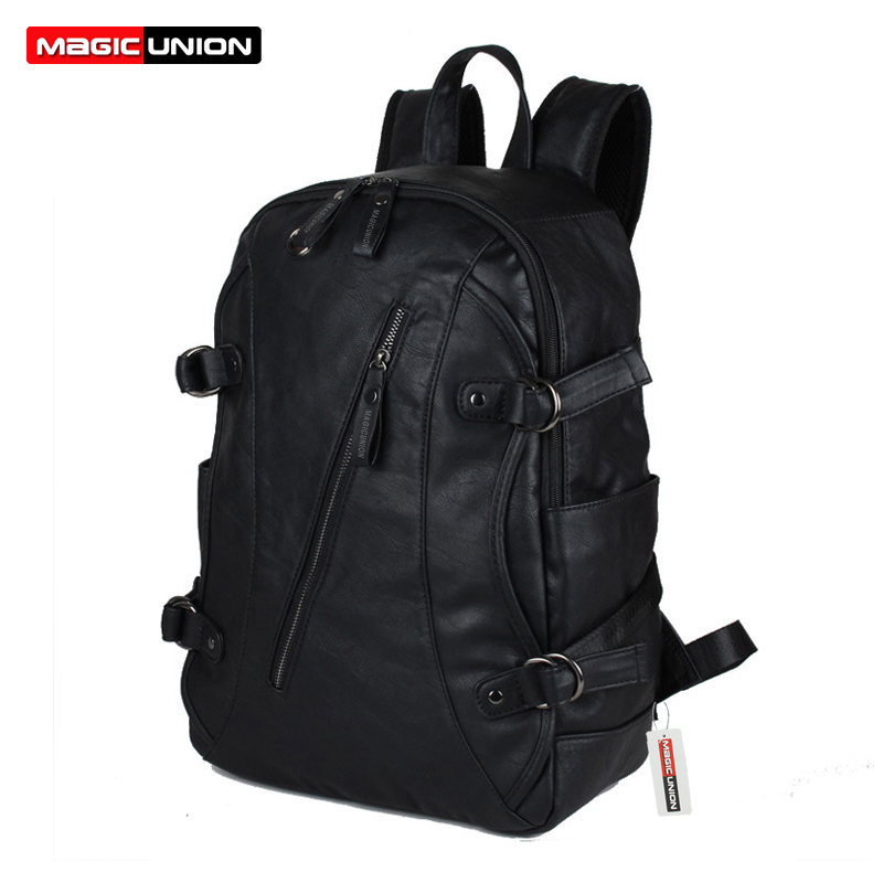 MAGIC UNION New Men Oil Wax Leather Backpack Mens Leather Backpack Travel Bags Western College Style Man Backpacks Mochila Zip<br>