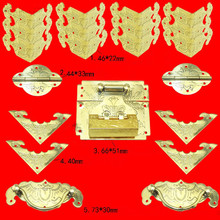 Chinese Brass Lock Set Fit for 30-50cm Wooden Box,Vase Buckle Metal Wooden Box Hasp Latch Lock+Hinge+Handle+Corner(China)
