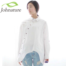 Johnature 2017 Autumn New Women Shirt Cotton Linen Button White Blue Floral Turn-down Collar Irregular Loose Blouse(China)