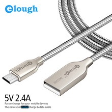 Elough 2.4A Metal Micro USB Cable For iPhone 7 6 6s Samsung S6 Huawei Mobile Phone Fast Charge Data Wire Micro USB Cable Charger