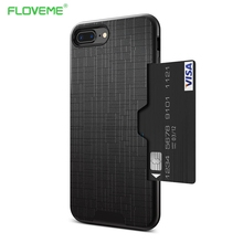 FLOVEME Slim Hybrid Credit Card For iPhone 7 Case For iPhone 7 Plus Armor Slide Card Slot Pocket Phone Back Cover Fundas Coque(China)