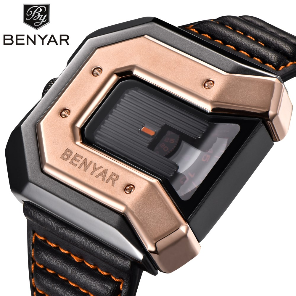 Men Watches Top Luxury Brand BENYAR Unique Design Fashion Irregular Shape Dial Quartz Wrist Watch Men Leather Relogio Masculino<br>