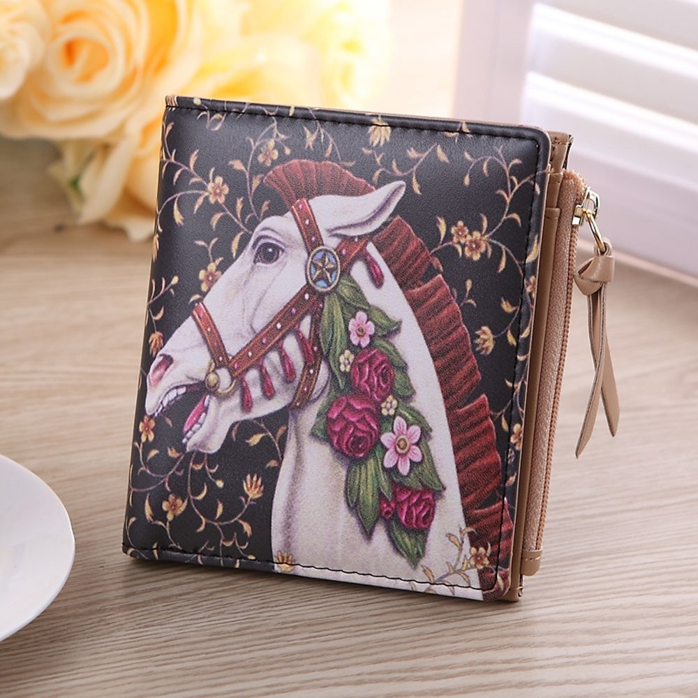 High Quality New Women Wallet Ladies PU Leather Coin Purses Vintage Whitehorse Fashion Clip Purse Short Wallet Clutch Handbag <br><br>Aliexpress