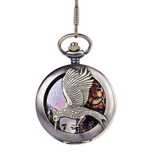 Cindiry pocket watch charms antique metal necklace pendant hunger games bird  arrows bronze vintage jewelry P15