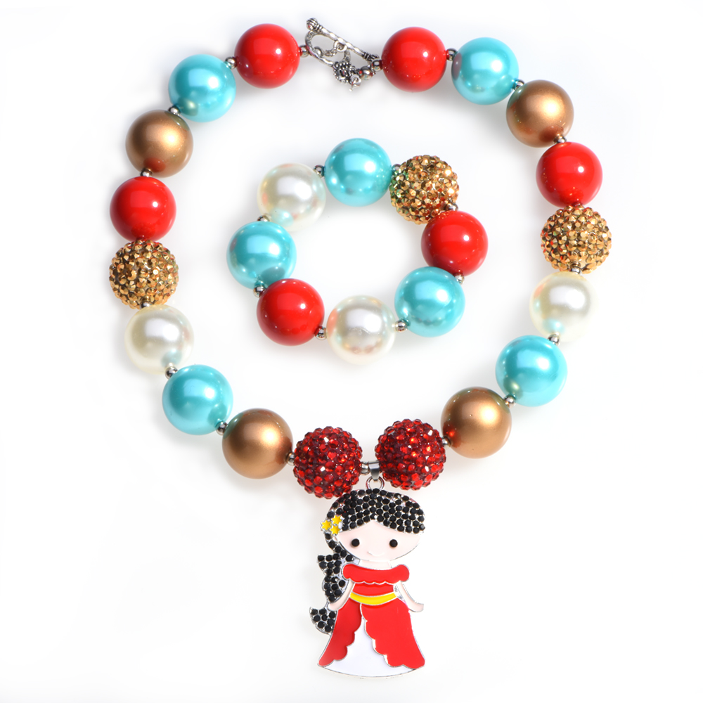 Elena of Avalor Pendant Chunky Necklace Bubble Gum Bracelets Imitation Pearl Bubblegum Jewelry Necklace Photo Prop Party Gifts