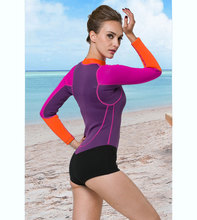 Long Sleeve Pink Black One-piece female Wetsuit Swim Suit   Shorty Pants Swimwear  Neoprene  Purple 2mm Wet Suit diving Women