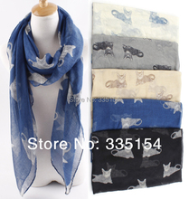 2015 Latest Fashion Kitty Pattern Animal Printed Scarf Women Shawls Wraps Hijabs 5Colors 10pcs/lot