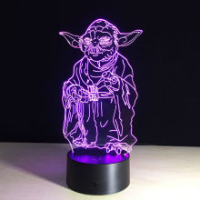 Super Cool Star Wars Yoda LED Acrylic Table Lamp Toys Action Figures 7 Colors Changing Automatically Spiderman Hulk Deadpool