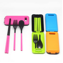 4 Colors Tableware Sets Outdoor Travel Picnic Folding Combination Scoop Fork Bento Lunch Environmental Storage Box