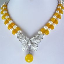 Fast SHIPPING2row pearl yellow/colorful /black /tiger eye necklace pendant+AAQ (A0325)(China)