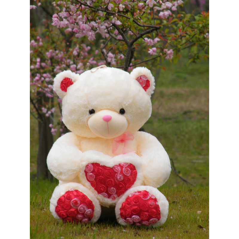2017 New 70cm Rose Romantive Heart Teddy Bear Plush Wedding Bear Love Toy Doll Bear Rose Satin Heart Hold Valentine's Day Gift(China)