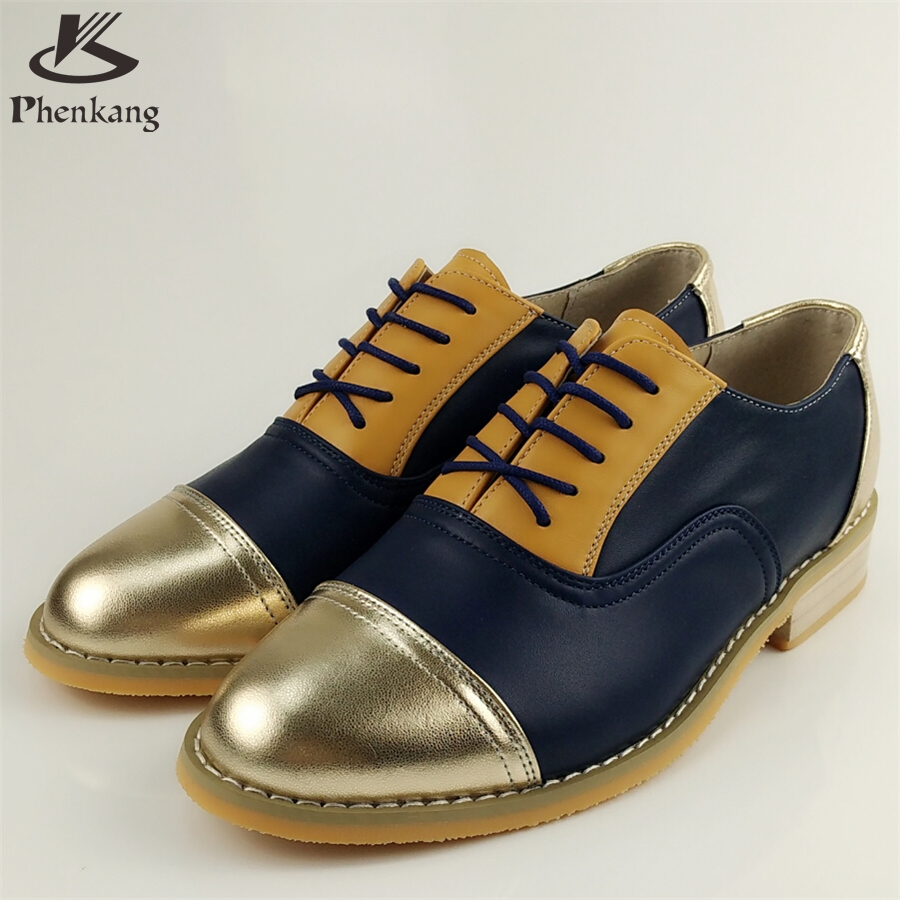 Genuine leather big woman US size 11 designer vintage flat shoes round toe handmade golden blue 2017 oxford shoes for women fur<br><br>Aliexpress