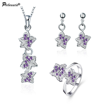 Special design for Europe buyers! copper purple zircon silver plated jewelry sets:pendant necklace, earrings,and ring