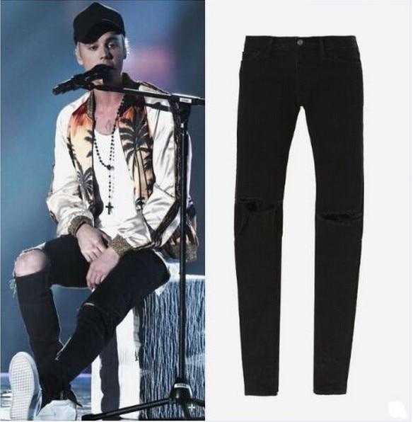 TOP mens designer clothes famous brand slp ankle zipper justin bieber rockstar black distressed ripped skinny  jeansÎäåæäà è àêñåññóàðû<br><br>