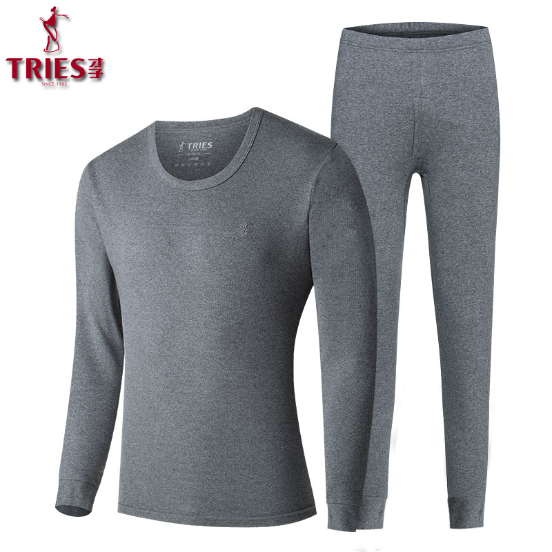 TRIES 100% Cotton Autumn Winter Round Neck Warm Long Johns Set For Men Ultra-Soft Solid Color Thin Thermal Underwear Men Pajamas