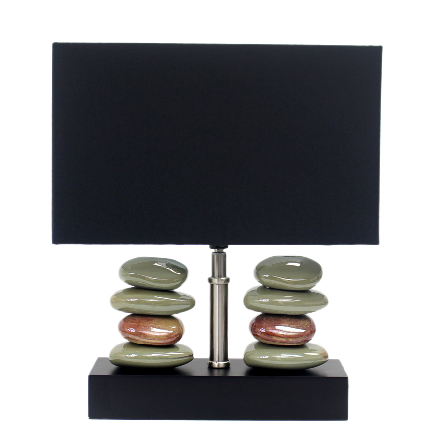 Elegant Designs Rectangular Dual Stacked Stone Ceramic Table Lamp with Black Shade (5)