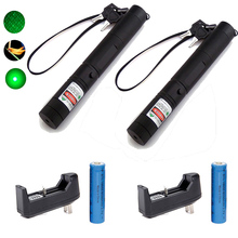 XpertMatic 2pcs Military 532nm 50mw 303 Laser Pointer Power Green Laser Pointer Pen Burning Beam +18650 Battery+Charger