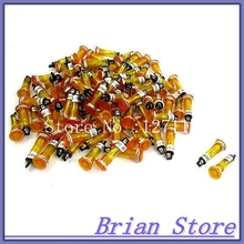 100 Pcs DC 24V 2P 10mm Flat Head Orange Power Signal Indicator Light Pilot Lamp(China)