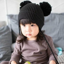 baby hats Knitted Woolen kids boy girl caps double ball Helmet Winter infants Warm Caps 46-52cm 2 colours baby care accessories