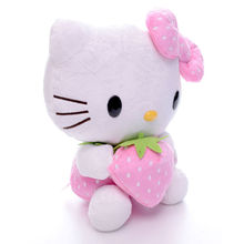 "7"" inch Adorable Plush Pink color bowknot Dress Sit Hello Kitty Plush Doll Toy with Strawberry For christmas party gift"