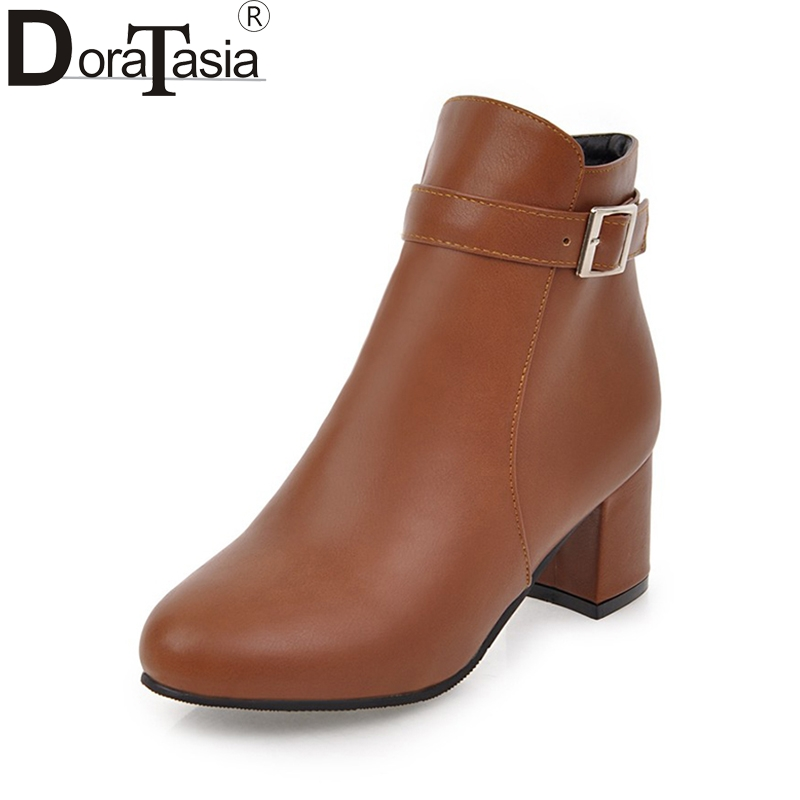 DoraTasia 2017 Plus Size 31-45 Customize Women Shoes Women Fashion Square Heels Add Fur Autumn Winter Ankle Boots<br>