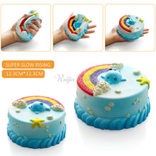 2017 New Arrival Jumbo 12CM Squishy Bread with fragrant Blue Ocean Cake Kawaii Cute Charm Slow Rising Bread Bun Kid Toy Gift Fun(China)