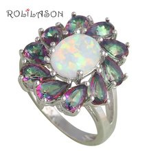 Luxury Rings Ten peices Mystic Zircon design White Fire Opal Silver Stamped Fashion Jewelry Rings USA #6#7#7.5#8#9#10 OR711(China)