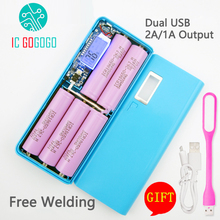 Free Welding 5V 1A 2A Digital Display Mobile Power Bank 5X18650 Battery DIY Kits Charger Circuit Board Step Up Boost