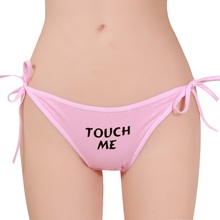 1 PCS Sexy Lady Letter Underwear Briefs Lady Cotton Panty Kiss Me /Eat Me Printed Lingerie Knickers Panties(China)