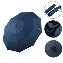 Automatic Folding Umbrella Double Canopy Umbrella Automatic Auto Open Close Umbrella Travel Golf Umbrella with 10 Ribs
